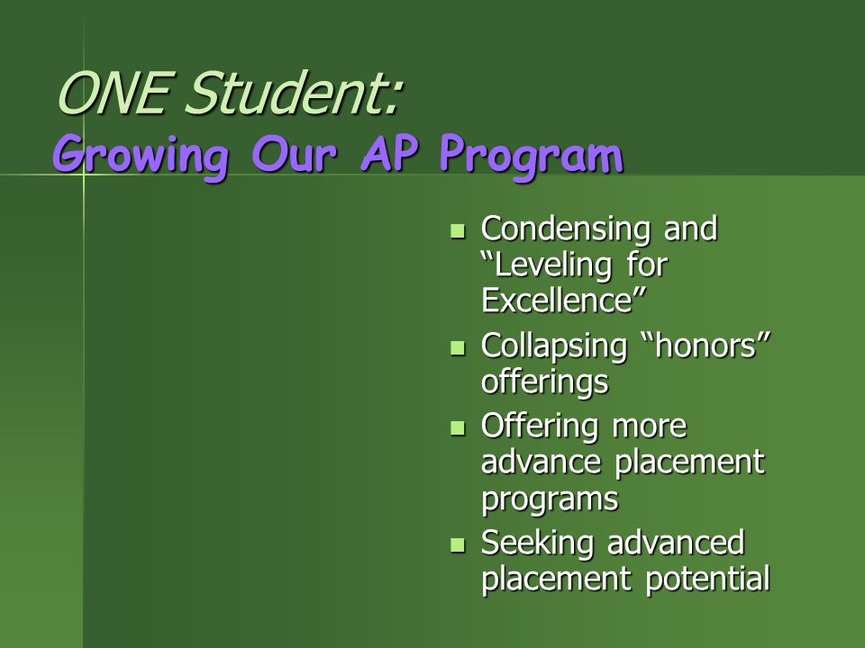 ONE Student: Growing Our AP Program