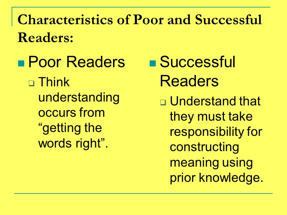 Characteristics of Poor and Successful Readers: