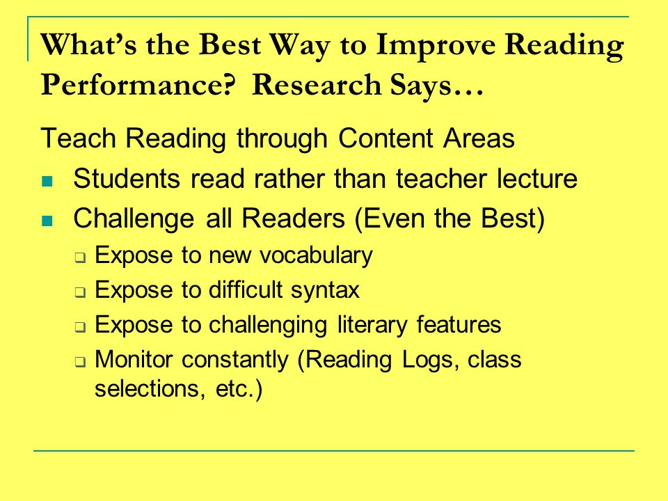 What's the Best Way to Improve Reading Performance Research Says…