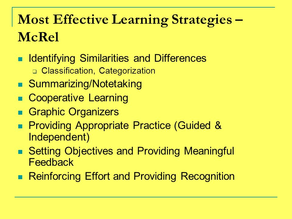 Most Effective Learning Strategies – McRel