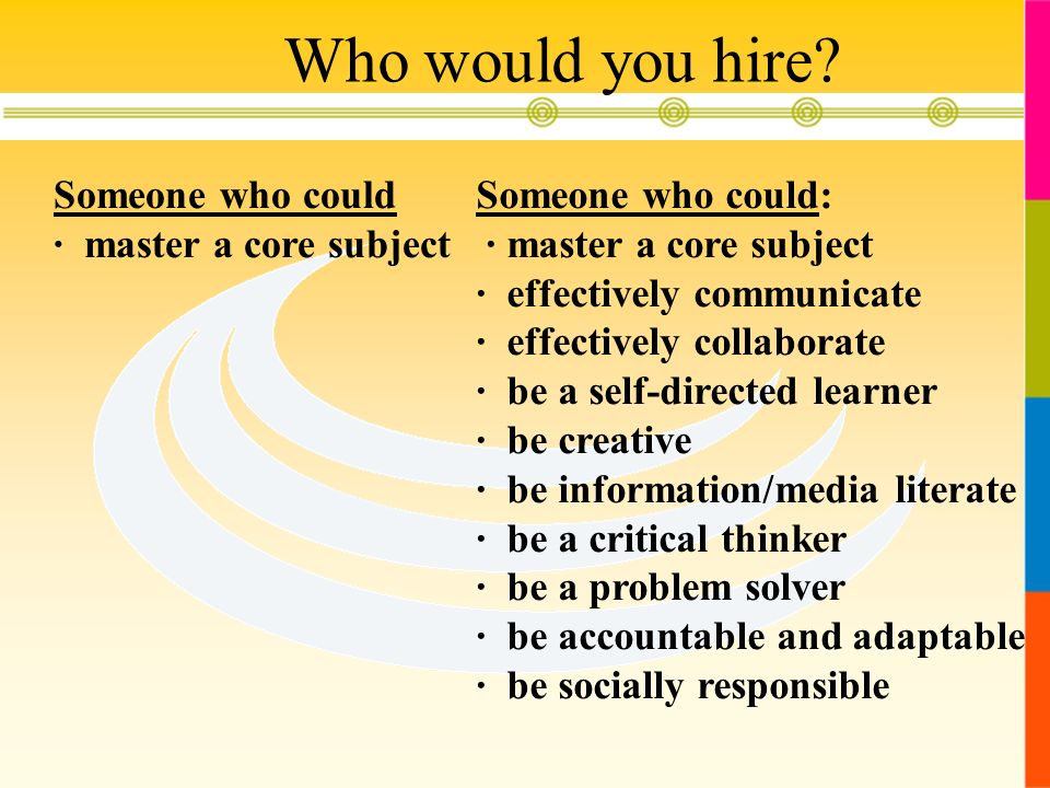 Who would you hire Someone who could · master a core subject