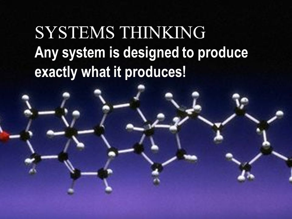 SYSTEMS THINKING Any system is designed to produce exactly what it produces!