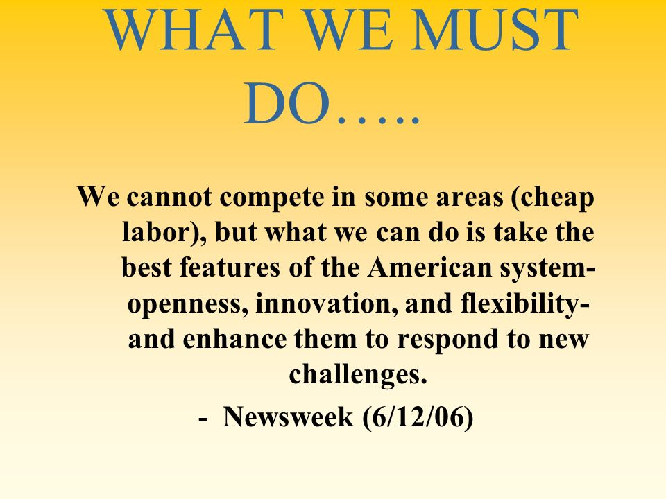 WHAT WE MUST DO…..