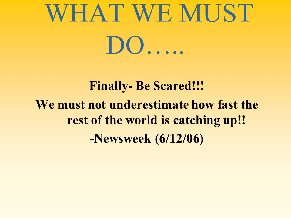 WHAT WE MUST DO….. Finally- Be Scared!!!