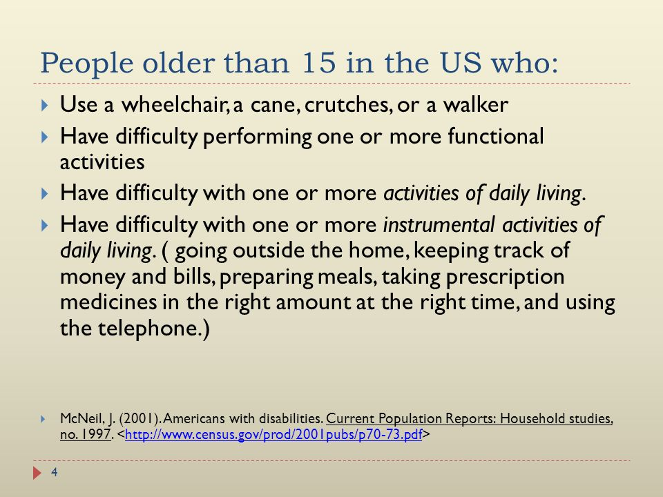 People older than 15 in the US who: