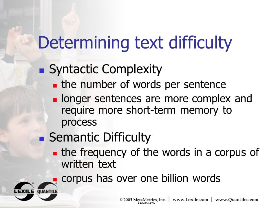 Determining text difficulty