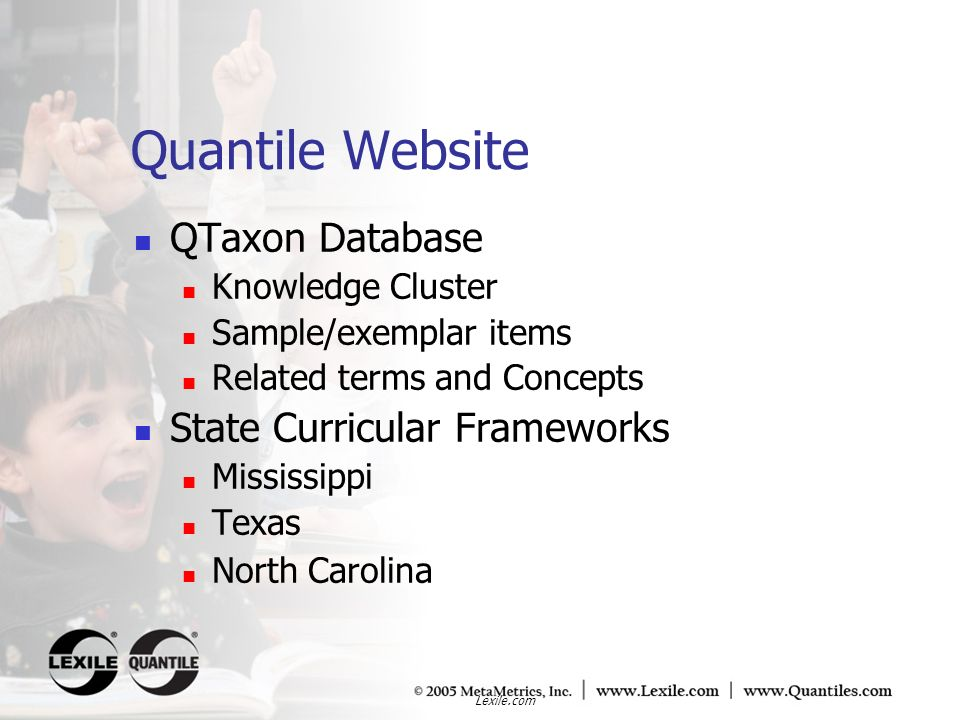 Quantile Website QTaxon Database State Curricular Frameworks