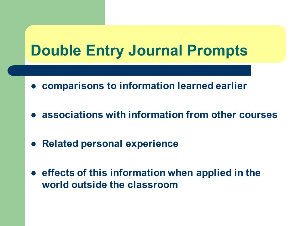 Double Entry Journal Prompts