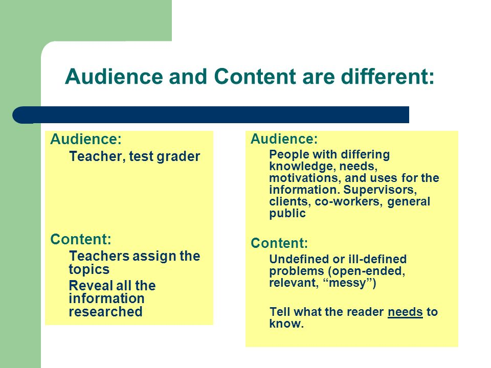 Audience and Content are different: