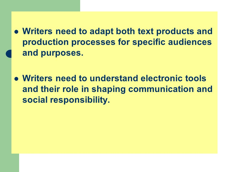 Writers need to adapt both text products and production processes for specific audiences and purposes.