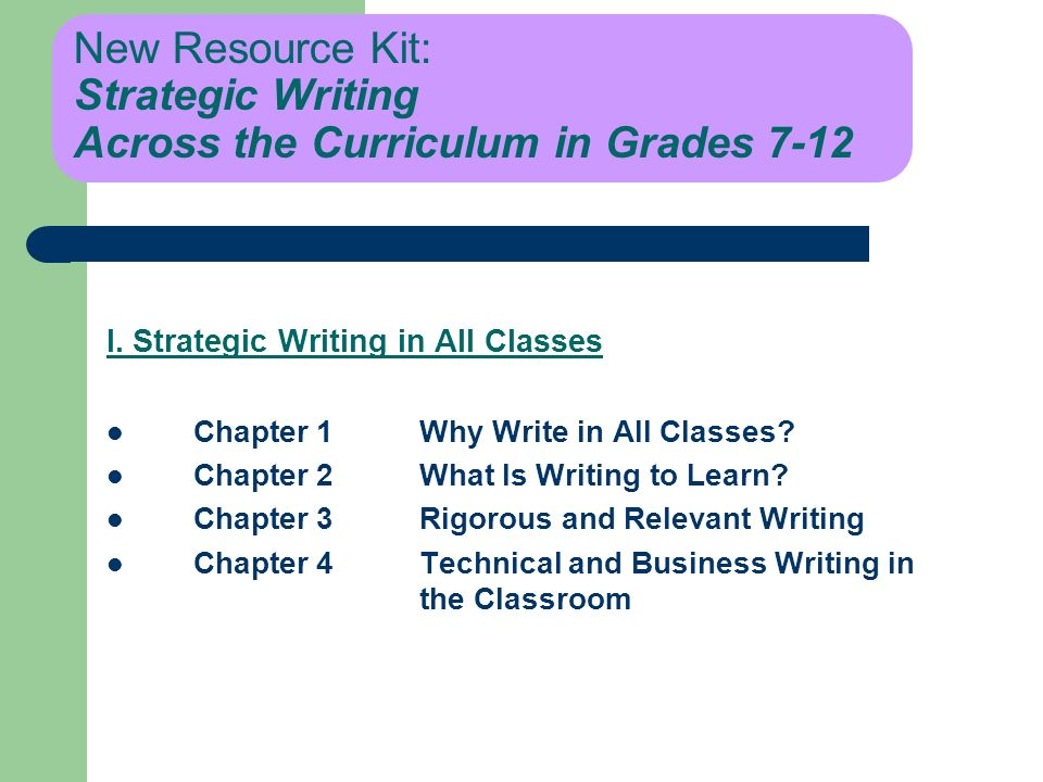 New Resource Kit: Strategic Writing Across the Curriculum in Grades 7-12