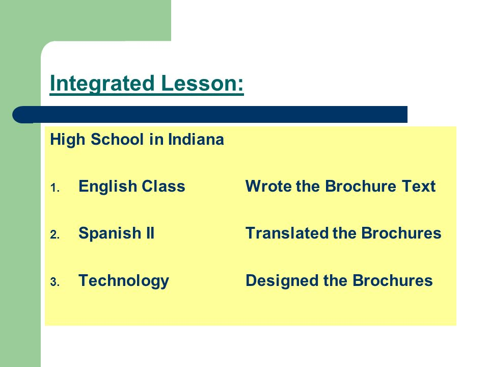 Integrated Lesson: High School in Indiana