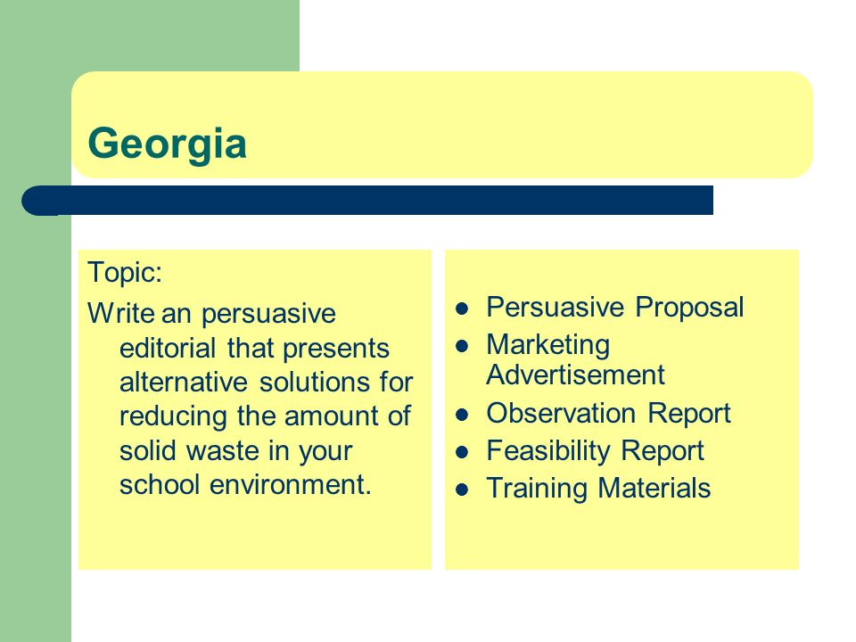 Georgia Topic: Write an persuasive editorial that presents alternative solutions for reducing the amount of solid waste in your school environment.