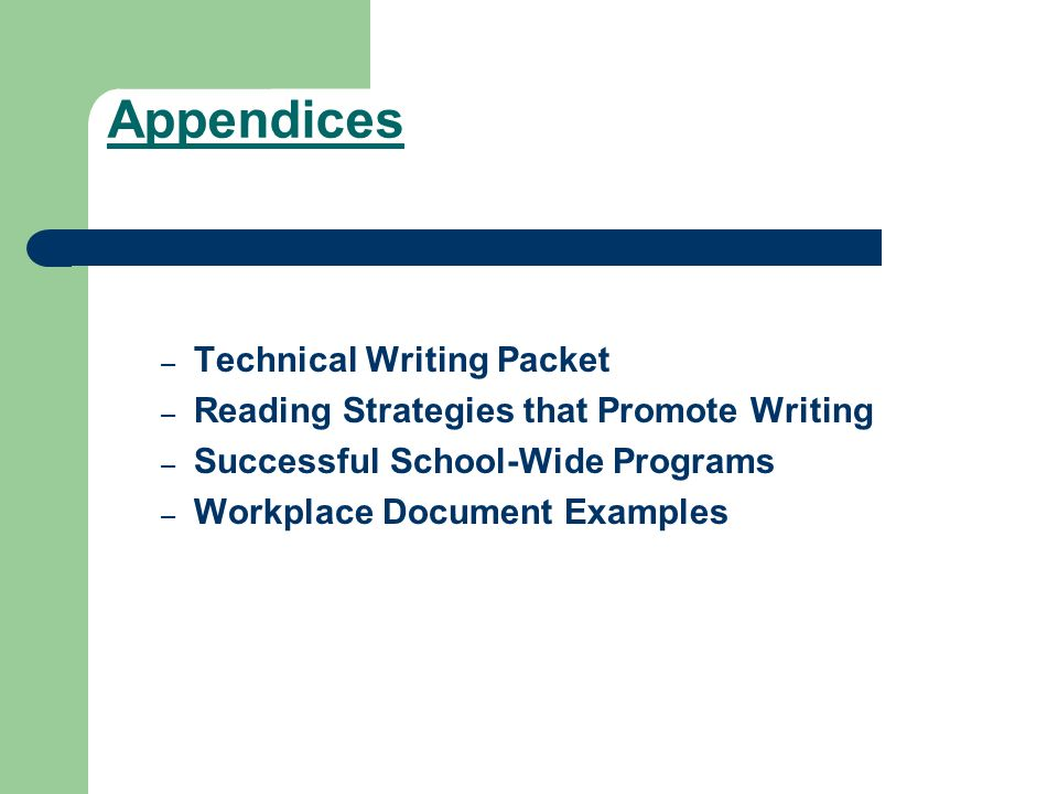 Appendices Technical Writing Packet