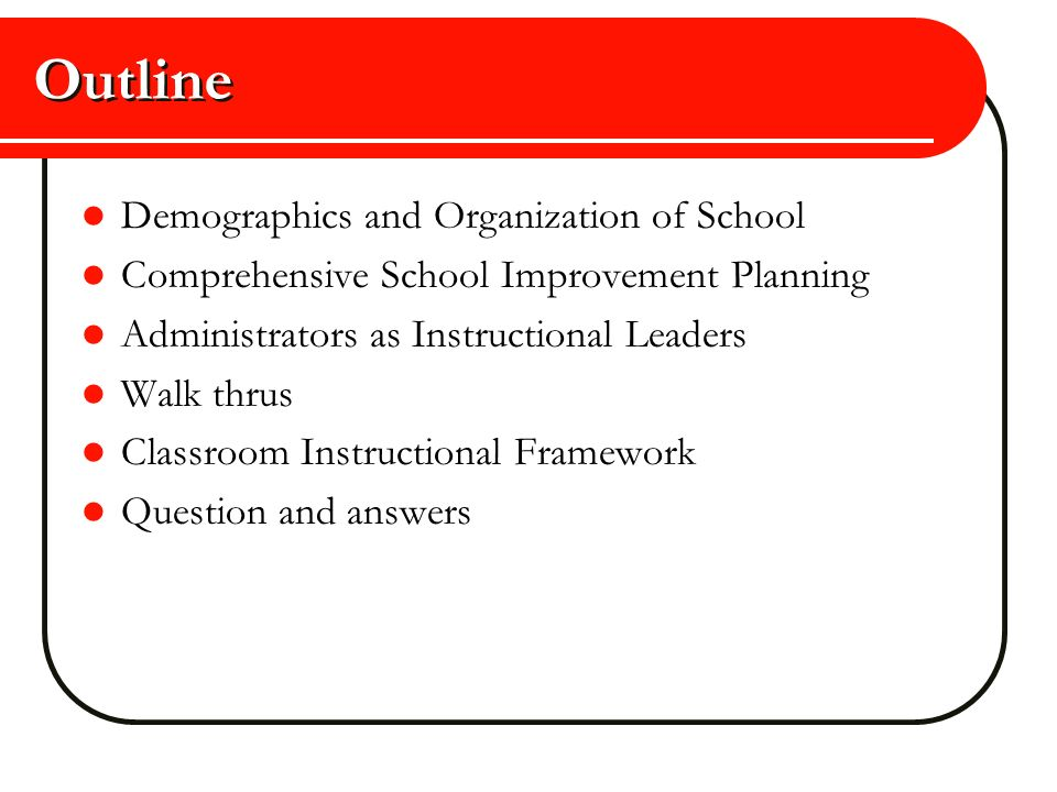 Outline Demographics and Organization of School