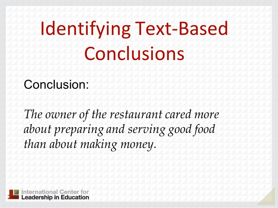Identifying Text-Based Conclusions
