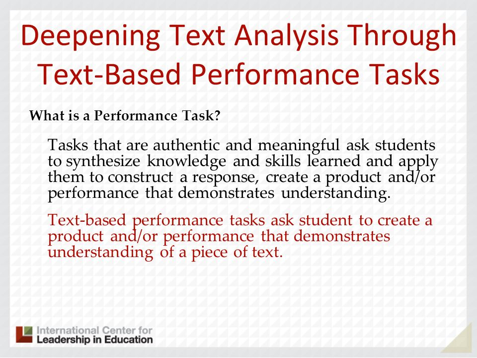 Deepening Text Analysis Through Text-Based Performance Tasks