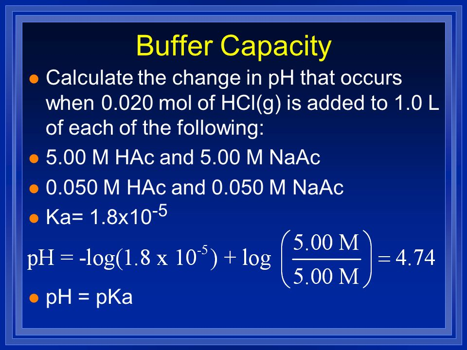 Buffer Capacity Calculate the change in pH that occurs when mol of HCl(g) is added to 1.0 L of each of the following: