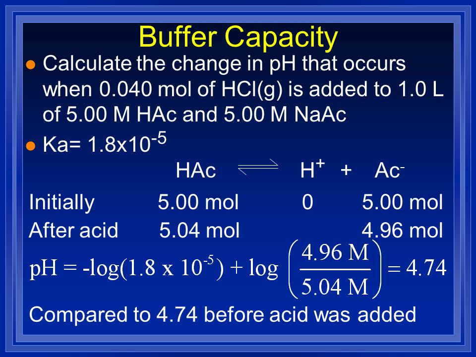 Buffer Capacity Calculate the change in pH that occurs when mol of HCl(g) is added to 1.0 L of 5.00 M HAc and 5.00 M NaAc.