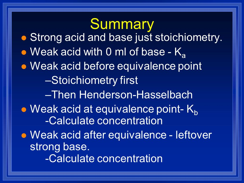 Summary Strong acid and base just stoichiometry.