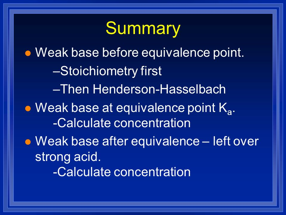 Summary Weak base before equivalence point. Stoichiometry first