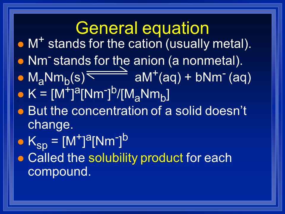 General equation M+ stands for the cation (usually metal).