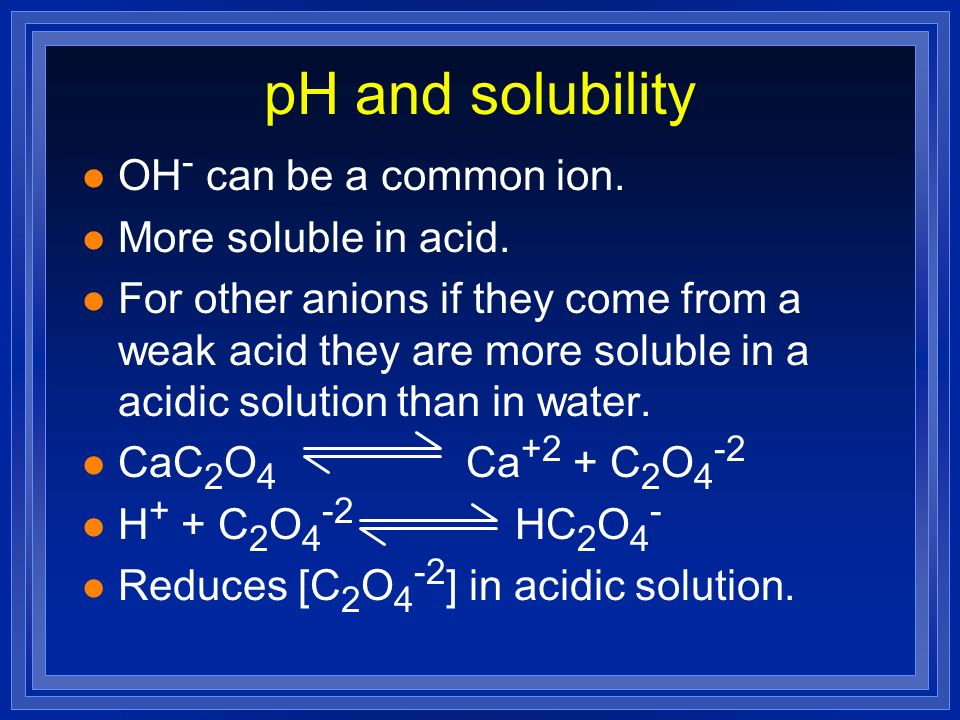 pH and solubility OH- can be a common ion. More soluble in acid.