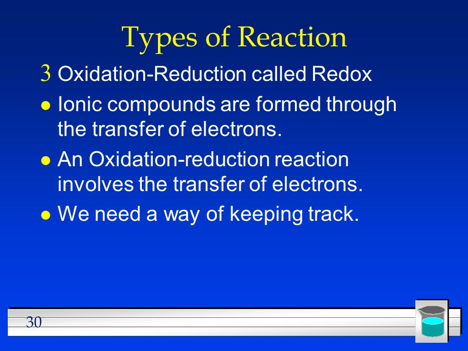 Types of Reaction Oxidation-Reduction called Redox