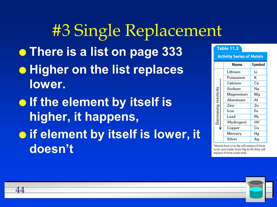 #3 Single Replacement There is a list on page 333