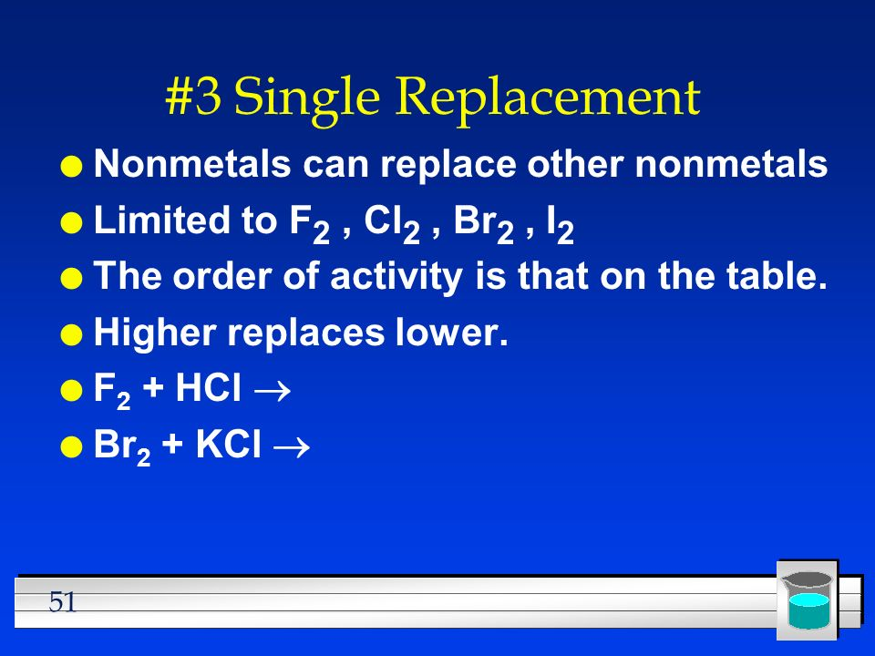 #3 Single Replacement Nonmetals can replace other nonmetals