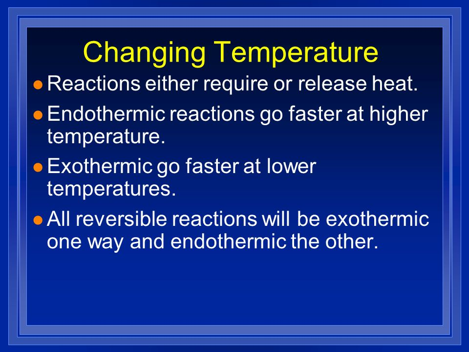 Changing Temperature Reactions either require or release heat.