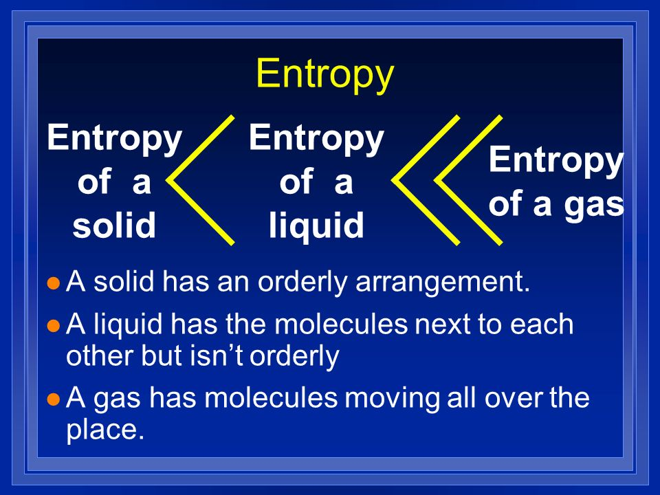 Entropy Entropy of a solid Entropy of a liquid Entropy of a gas