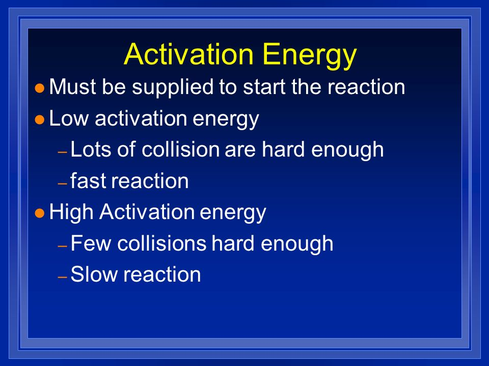 Activation Energy Must be supplied to start the reaction