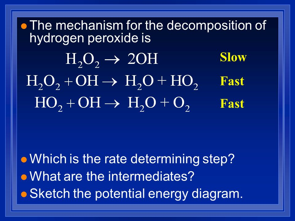 The mechanism for the decomposition of hydrogen peroxide is