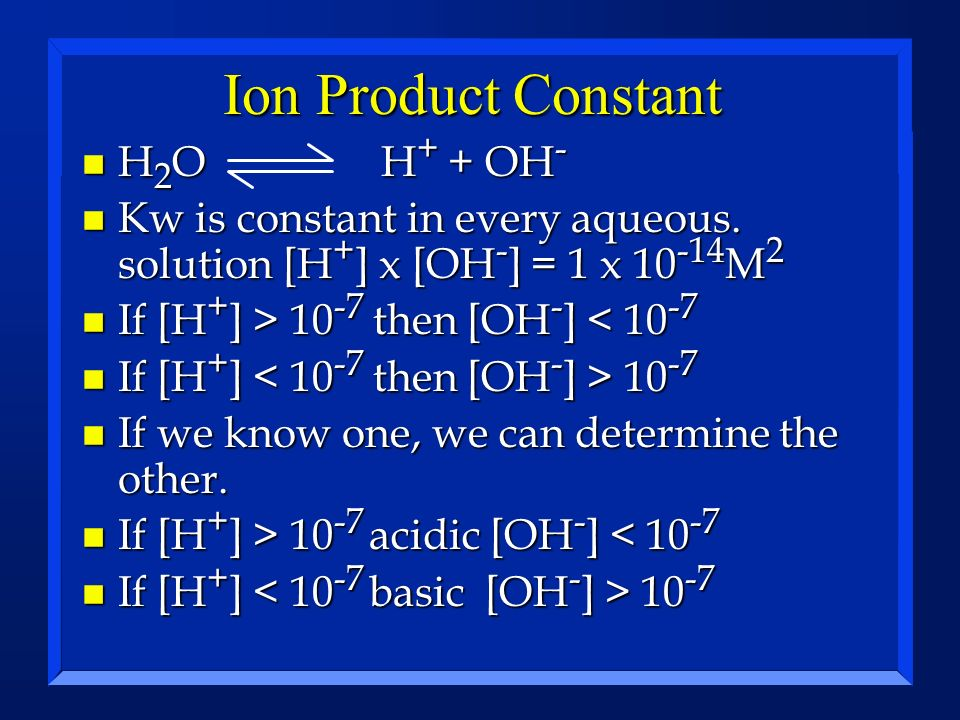 Ion Product Constant H2O H+ + OH-