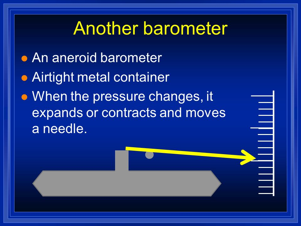 Another barometer An aneroid barometer Airtight metal container