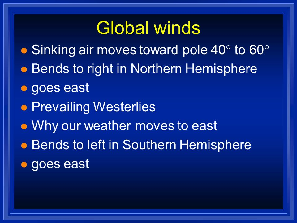 Global winds Sinking air moves toward pole 40 to 60