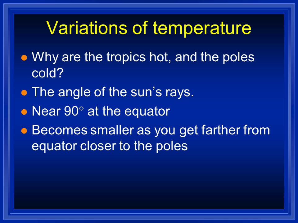 Variations of temperature