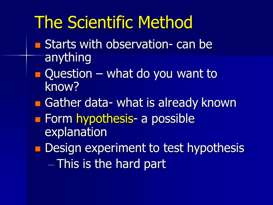 The Scientific Method Starts with observation- can be anything