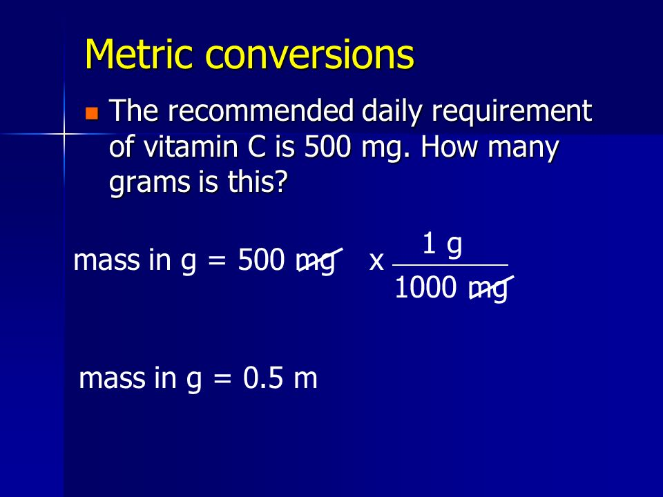 Metric conversions The recommended daily requirement of vitamin C is 500 mg. How many grams is this