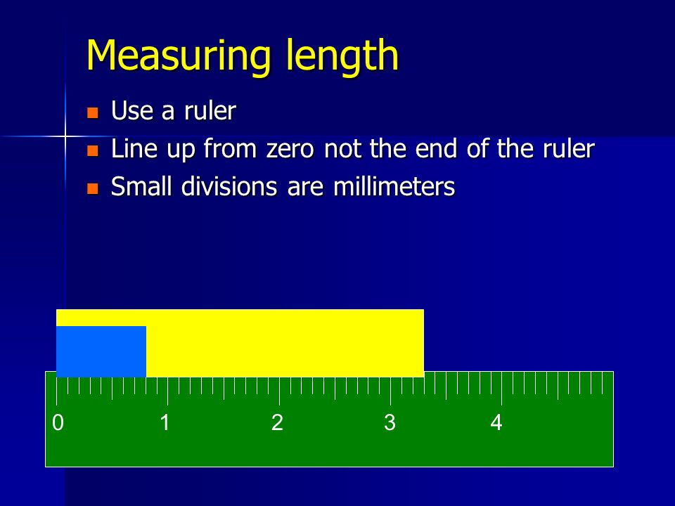 Measuring length Use a ruler