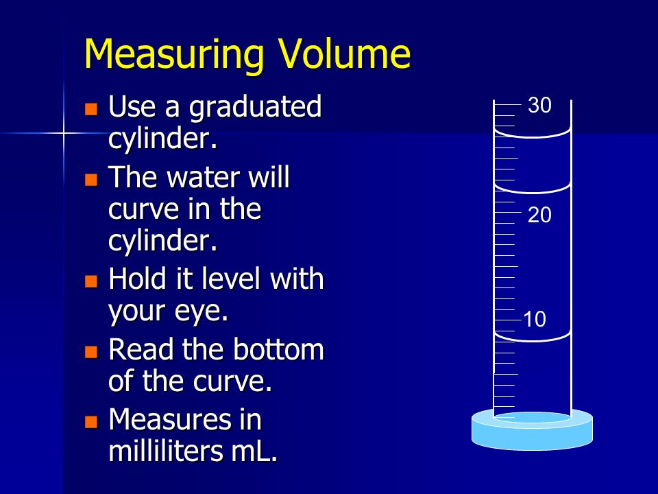 Measuring Volume Use a graduated cylinder.