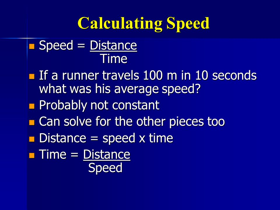 Calculating Speed Speed = Distance Time