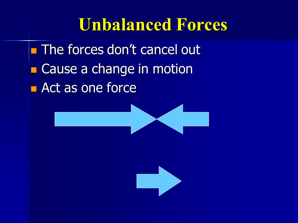 Unbalanced Forces The forces don't cancel out Cause a change in motion