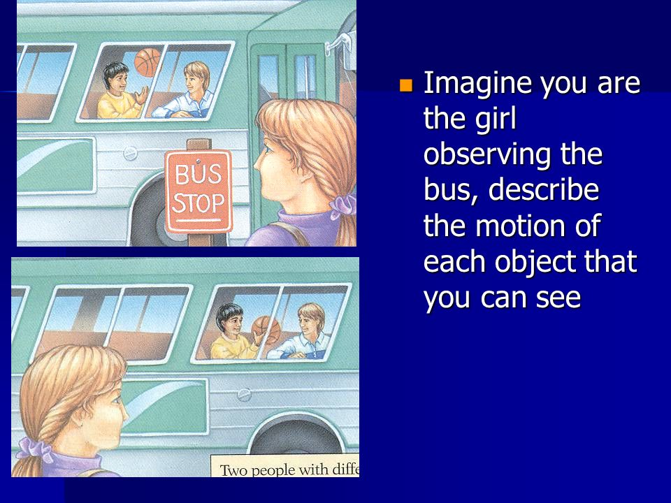 Imagine you are the girl observing the bus, describe the motion of each object that you can see