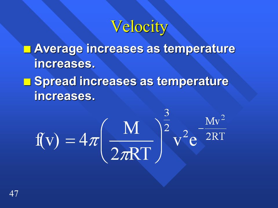 Velocity Average increases as temperature increases.