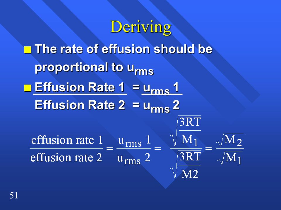 Deriving The rate of effusion should be proportional to urms