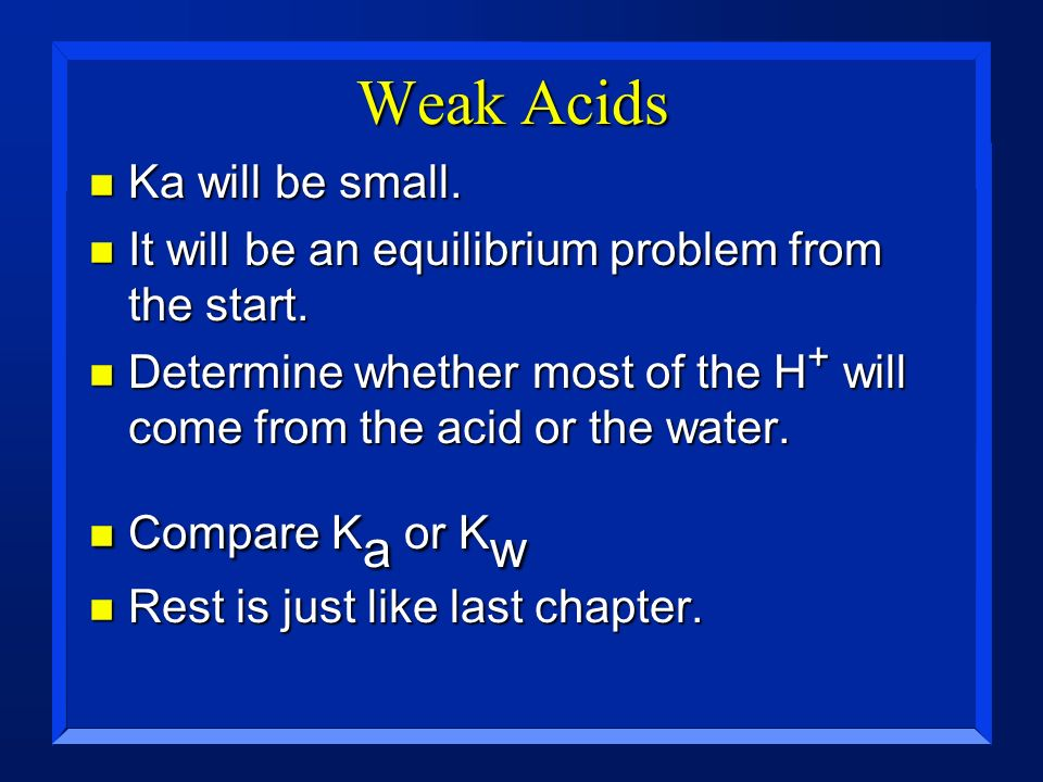 Weak Acids Ka will be small.