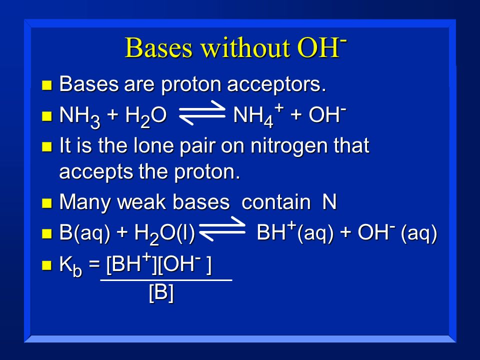 Bases without OH- Bases are proton acceptors. NH3 + H2O NH4+ + OH-