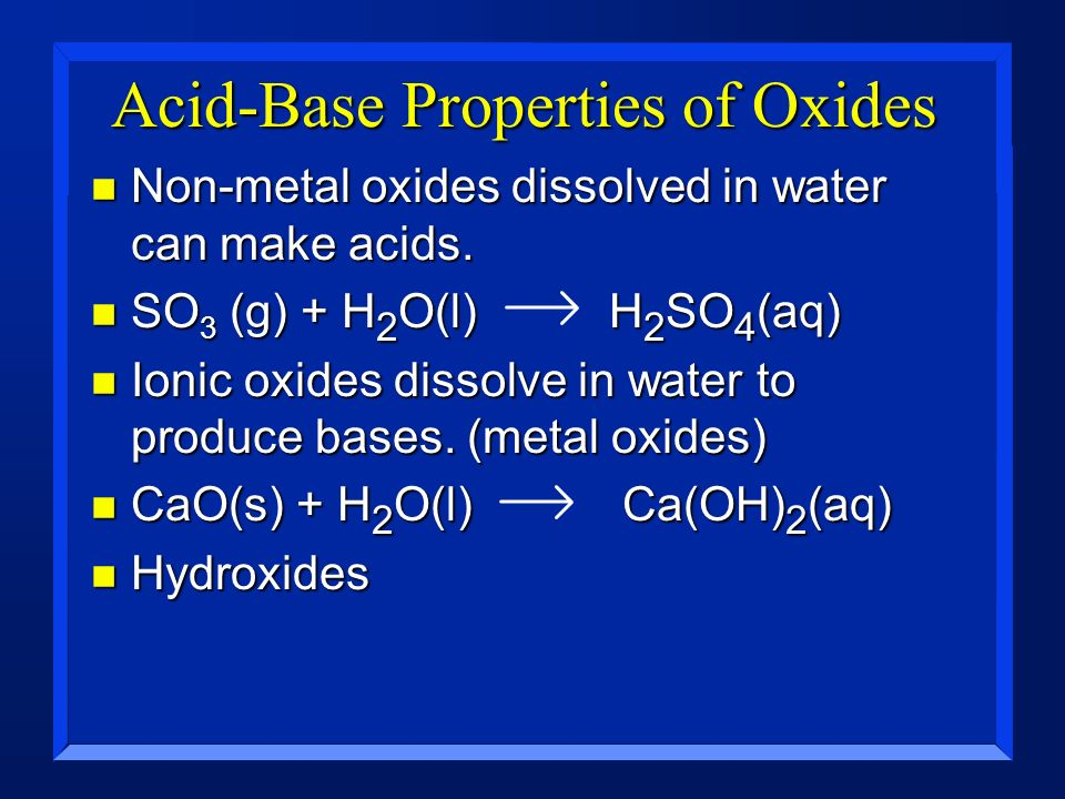 Acid-Base Properties of Oxides